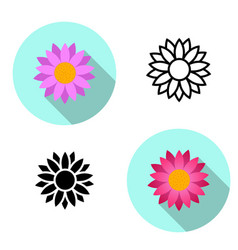 Set of lotus flower icons in flat style vector