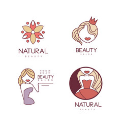 set of outline logos for beauty salon or vector image