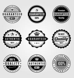 set vintage premium retro premium guaranteed vector image
