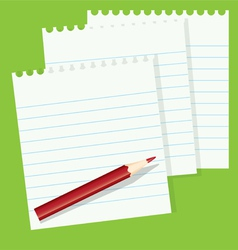 sheets of paper and a red pencil vector image