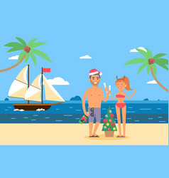 ships in bottles weekend on tropical island vector image