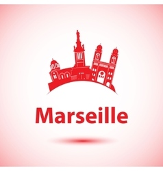 silhouette marseille france vector image