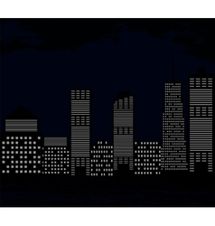 Silhouette of Big City on Background of Dark Sky vector