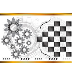 silver gears on a light background vector image