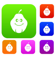 smiling quince fruit set color collection vector image