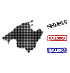 Spain mallorca island map in halftone dot style vector