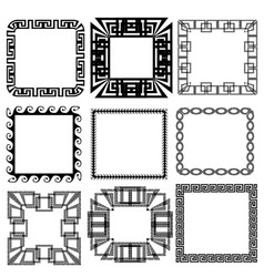 square greek key meander border frame patterns set vector image