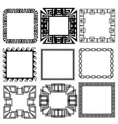 Square greek key meander border frame patterns set vector