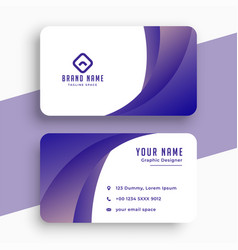 stylish purple business card with wavy shape vector image