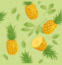 Summer pattern with pineapples seamless texture vector