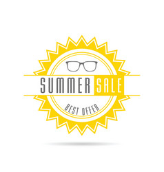 summer sale with sun in color design vector image