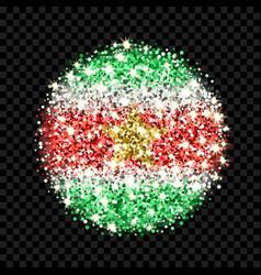 suriname flag sparkling badge vector image