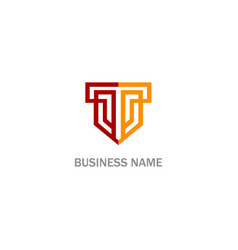 t initial shield company logo vector image