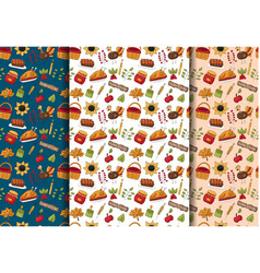 Thanksgiving seamless pattern background set vector