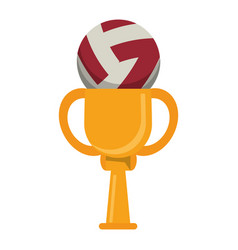 trophy volleyball ball winner vector image