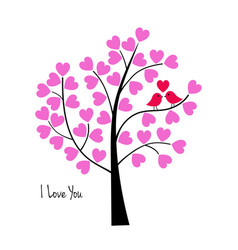Valentines day birds in tree vector