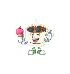 With ice cream character cup coffee in cartoon vector