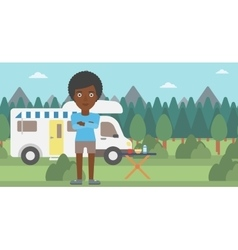 Woman standing in front of motor home vector image vector image