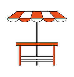 Wooden table patio umbrella vector