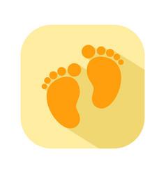 baby footprints flat color icon newborn baby vector image vector image