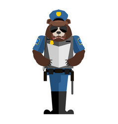 bear policeman wild animal police form cap and vector image