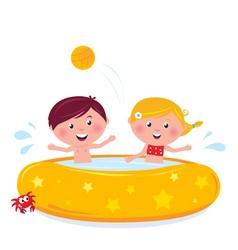 cartooon kids in pool vector image vector image
