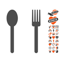 Fork and spoon icon with dating bonus vector