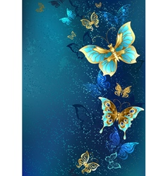 Golden butterflies on a blue background vector