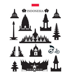 indonesia landmarks architecture building object vector image