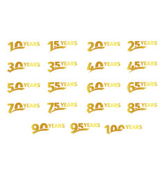 isolated golden color numbers with word years vector image