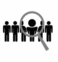 magnifying glass chooses man vector image vector image