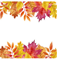 Watercolor autumn leaves frame vector