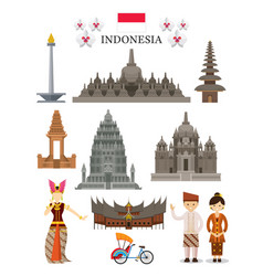 indonesia landmarks and culture object set vector image vector image
