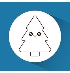 Kawaii pine tree of christmas season design vector