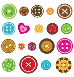 Sewing buttons on white background vector