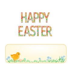 banner happy easter easter chicks and easter eggs vector image