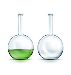 glass laboratory flasks vector image