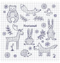 Hand-draw woodland animals vector