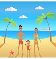 Happy family on beach during vacations vector image