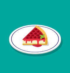 strawberry cheese cake in 3d cartoon style vector image