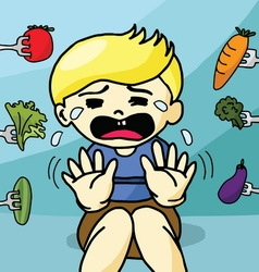 The boy does not like healthy food vector image vector image