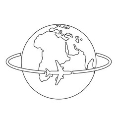worldwide icon outline style vector image
