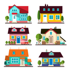 buildings set flat design houses isolated on vector image vector image