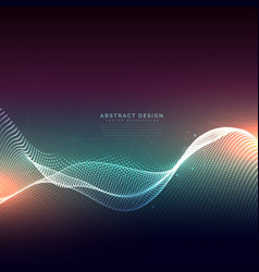 digital particles wave mesh technology background vector image vector image