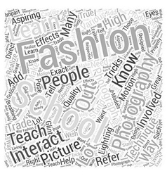 fashion photography schools Word Cloud Concept vector image vector image