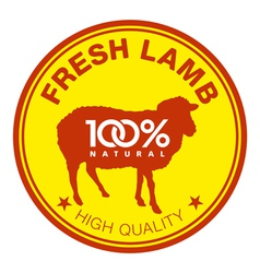 Fresh lamb label vector image