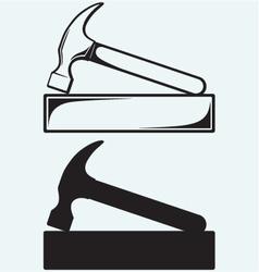 Hammer and bricks vector image vector image