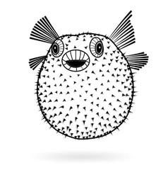 puffer fish fugu silhouette sharp icon vector image