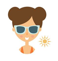 woman smiling in dark glasses enjoying the sun vector image