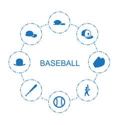 8 baseball icons vector